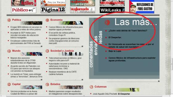 """""""¿Quién está detrás de Yoani Sánchez?"""" lo más leído este domingo en La Jornada"""