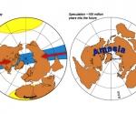 Los continentes actuales de América y Asia (a la izquierda) y la proyección de 'Amasia', el supercontinente, centrado sobre el Ártico. Imagen: www.nature.com