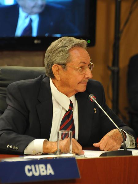 El General de Ejército Raúl Castro Ruz  (D) , presidente de los Consejos de Estado y de Ministros de Cuba, en la XI Cumbre de la Alianza Bolivariana para los Pueblos de Nuestra América, en Caracas, Venezuela, el 4 de febrero de 2012. AIN FOTO/ESTUDIO REVOLUCION