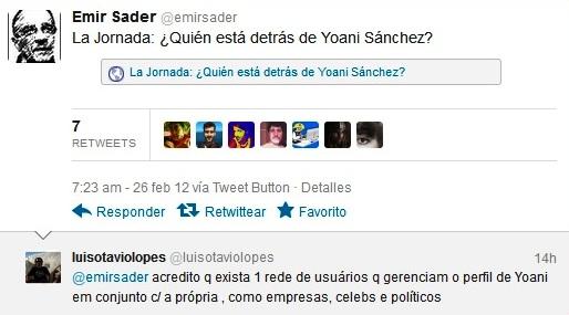 Tweet de Emir Sader difundiendo el artículo de Lamrani en La Jornada y comentario con que le respondió otro tuitero