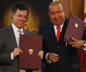 Chávez y Santos en Caracas