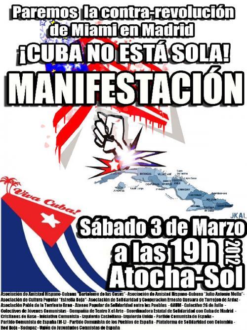Cartel de la movilización en España a favor de Cuba.