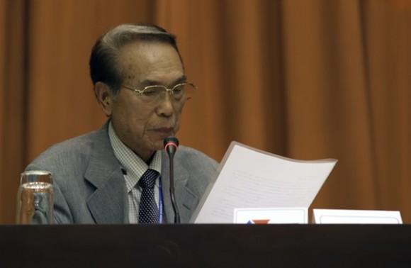 Hiroshi Nakamura, sobreviviente de Hiroshima en el encuentro con Fidel. Foto: Roberto Chile