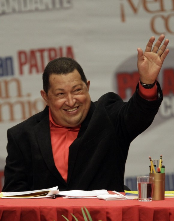 Hugo Chávez en el Teatro Teresa Carreño, de Caracas, el 23 de febrero de 2012. Foto: AP