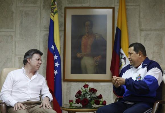 Juan Manuel Santos y Hugo Chávez en La Habana. Foto: Prensa  Presidencial de Colombia