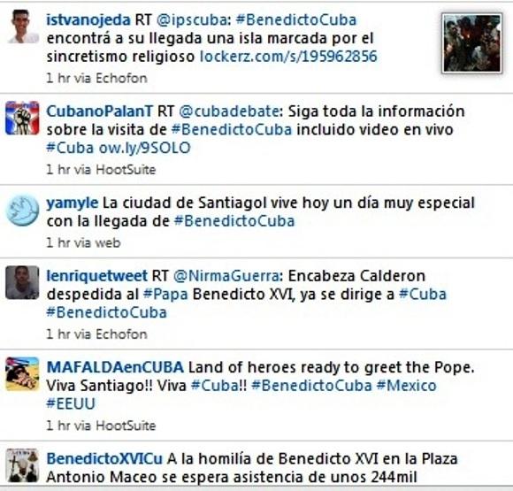 Un instante de la intensidad de los mensajes difundidos con la etiqueta #BenedictoCuba en Twitter la mañana de este 26 de marzo de 2012.