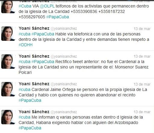 Tweets de Yoani Sánchez