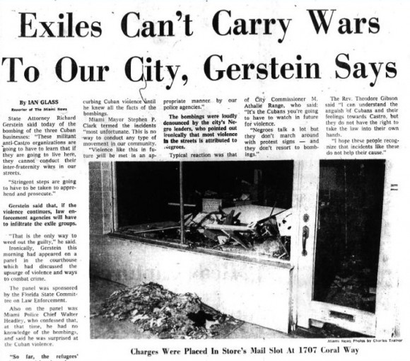 """Portada de The Miami News, del 25 de enero de 1968: """"Los exiliados no puede transportar guerras a nuestra ciudad, dice Gerstein""""."""