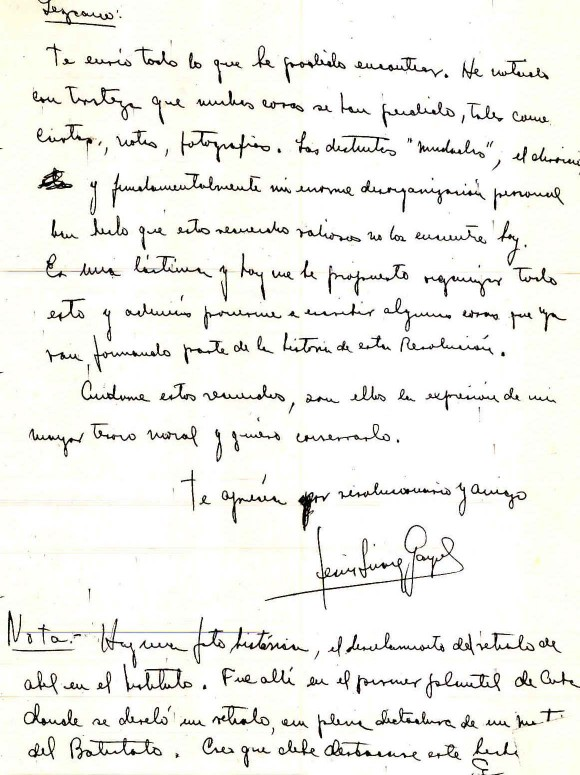 Carta de Jesús Suárez Gayol