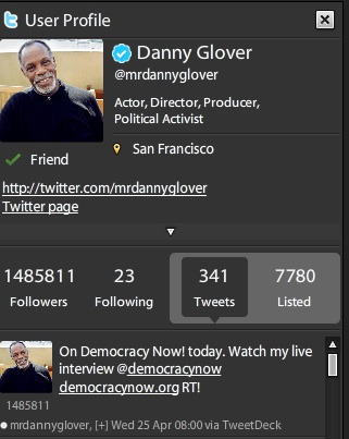 La cuenta en Twitter de Danny Glover: @mrdannyglover