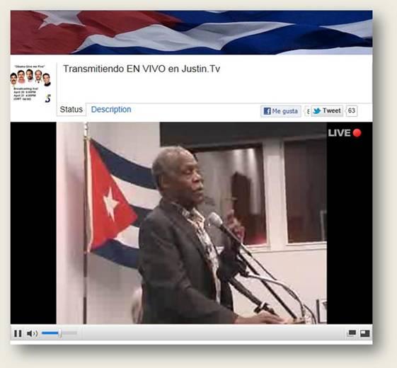 Danny Glover. Imagen captada de la transmisión de Justin.tv