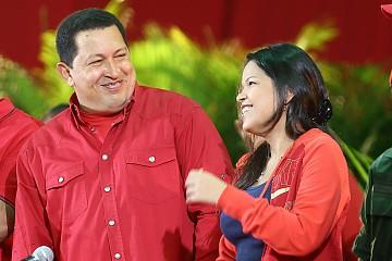 Hugo Chávez y su hija Maria Gabriela