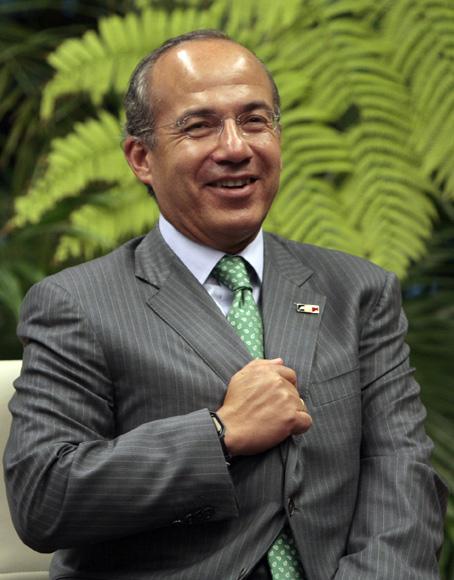 Felipe Calderon presidente de Mexico, durante las conversaciones oficiales con el presidente de Cuba Raul Castro. . Foto: Ismael Francisco/Cubadebate.