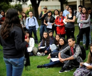 CSUN student Sarah Garcia, 19-years-old, who is participating in a hunger strike to protest university cuts talks to students. Members of Students for Quality Education vow to strike until the university freezes tuition, caps administrative salaries and meets other demands. (Hans Gutknecht/Staff Photographer)