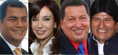Correa, Cristina, Chávez y Evo.