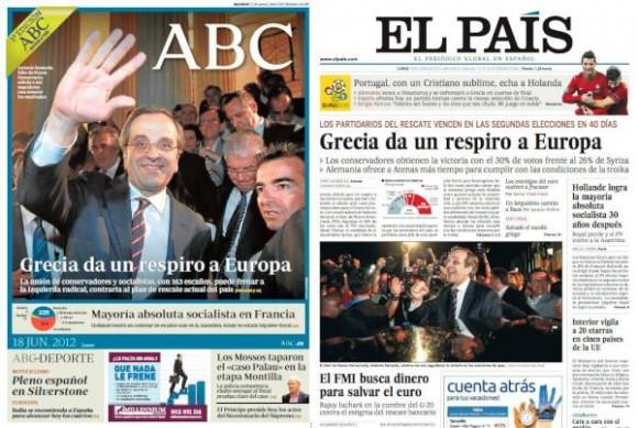 Buscando las 7 diferencias entre la portada de 'ABC' y la portada de 'El País'. Via @Barahona/ Twitter