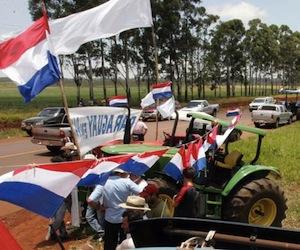"""Uno de los """"tractorazos"""" contra Lugo de la Unión de Gremios de la Producción (UGP)."""