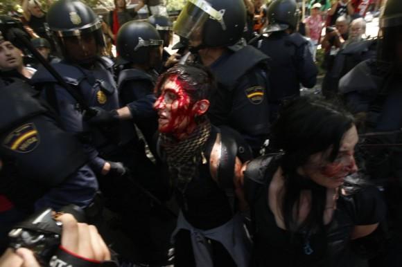 Asistentes a la manifestación han resultado heridos durante la marcha minera. Foto: El País