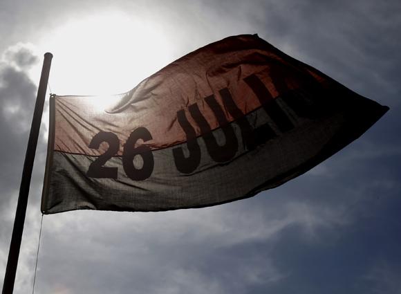 Bandera del Movimiento 26 de Julio. Foto: Ismael Francisco/Cubadebate