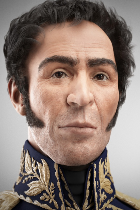 Rostro digitalizado del Libertador Simón Bolívar