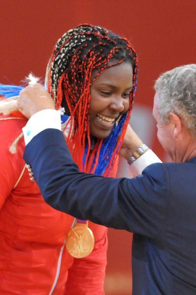 La judoca cubana Idalys Ortiz alcanzó hoy la gloria olímpica con su medalla de oro en los más de 78 kilogramos de los XXX Juegos Olímpicos de Londres, en el Centro de Exposiciones ExCel, en los XXX Juegos Olímpicos Londres 2012, en Inglaterra, el 3 de agosto de 2012. AIN FOTO/Marcelino VAZQUEZ HERNANDEZ