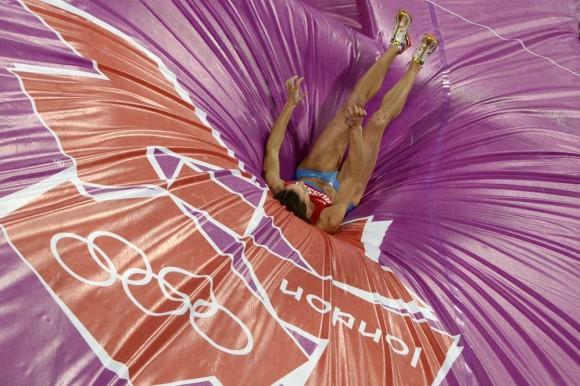 La rusa Elena Isinbaeva que compitió en pértiga. Foto: AFP