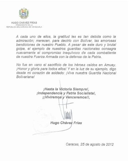 Comunicado de Chávez a las FANB