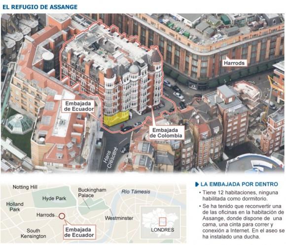 Gráfico de los alrededores de la Embajada de Ecuador en Londres.