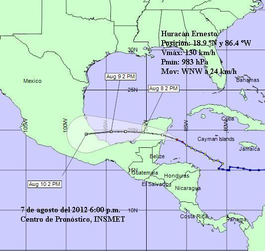 Ernesto se mueve al oeste noroeste a razón de 24 kilómetros por hora.