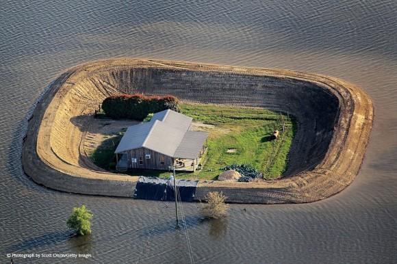 Una isla en el Missippi por la inundación del Río Yazoo. Foto: National Geographic