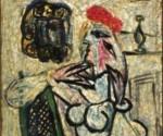 """Obra conocida como """"Mujer sentada con sombrero rojo"""", elaborada en vidrio por el pintor español Pablo Picasso"""