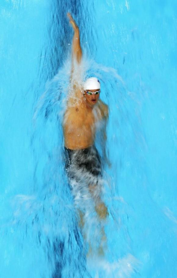 El estadounidense Ryan Lochte en la prueba de 200 metros espalda. Foto: RICHARD HEATHCOTE (GETTY IMAGES)