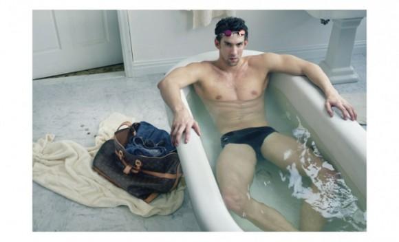 Phelps anunciando un bolso de Louis Vuitton