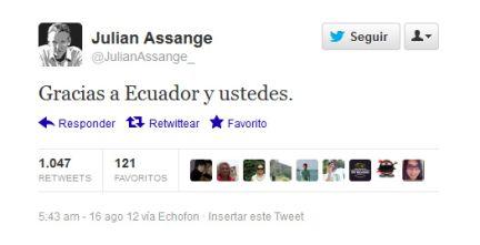 El fundador de WikiLeaks agradeció a través de la cuenta en Twitter a Ecuador y las personas que lo apoyan.