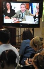 Gloria La Riva y Ramsey Clarck durante la videoconferencia. Foto: Marcelino Vázquez/ AIN