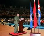 Inaguración del Curso Emergente de Maestros para la enseñanza primaria en acto efectuado en la Ciudad Deportiva de la capital cubana, donde analizó los trágicos acontecimientos ocurridos esa mañana en los Estados Unidos