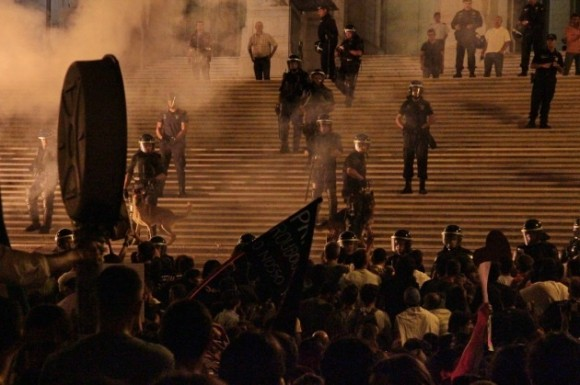 La manifestación frente al Parlamento