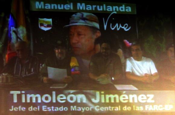Video presentado antes de comenzar la rueda de prensa, de los integrantes de las FARC. Foto: Ismael Francisco/Cubadebate.