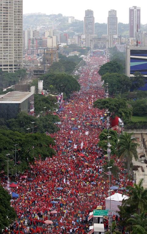 Cierre de campaña del presidente Hugo Chávez. FOTO: REUTERS