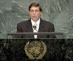 Bruno Rodríguez en Naciones Unidas. Foto: AFP