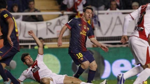 Messi hoy contra el Rayo. Foto EFE