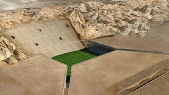 El Rock Stadium, de Abu Dhabi. Una empresa de arquitectura libanesa acaba de ganar un premio por su boceto para construir un estadio de 40.000 asientos excavado en ladera de la sierra de Jebel Hafeet. La propuesta aún no tiene el visto bueno, pero parece que será construido en los próximos años.