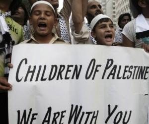 """""""Niños de Palestina: estamos con ustedes""""."""