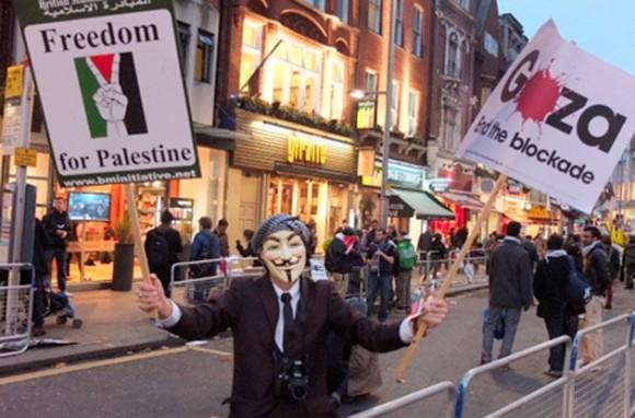 Cerca de la embajada israelí en Londres.