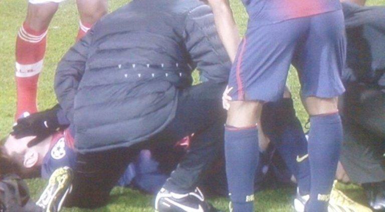 Lionel Messi sufre una lesión durante un partido frente al Benfica. FOTO: Eurosport