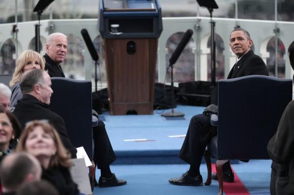 Obama y Biden, durante la ceremonia de toma de posesión. Foto: AFP.