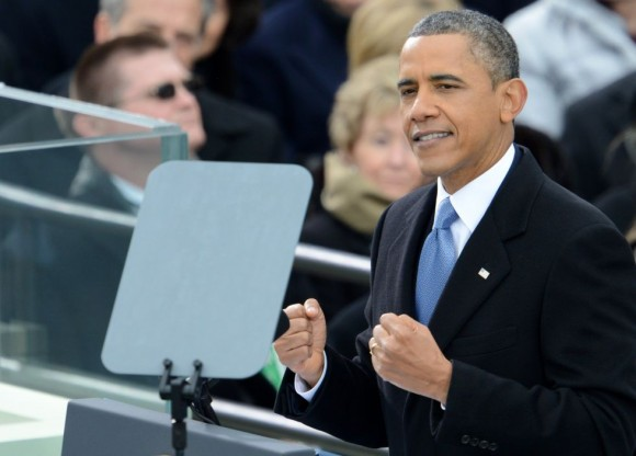 Obama, durante su discurso tras la toma de posesión. Foto: AFP.