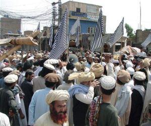 Congregación en Paquistán ante los muertos por drones.