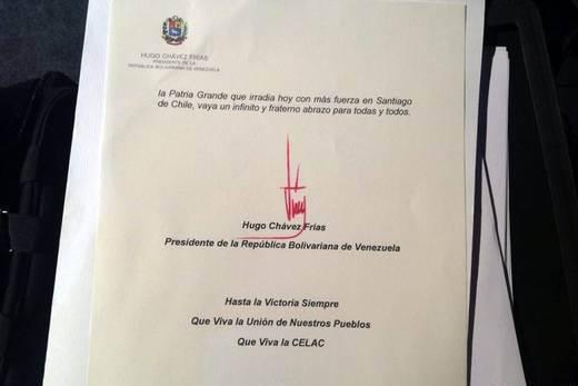 Última página de la carta enviada por el presidente Chávez a dignatarios de la Celac. Foto: EFE.