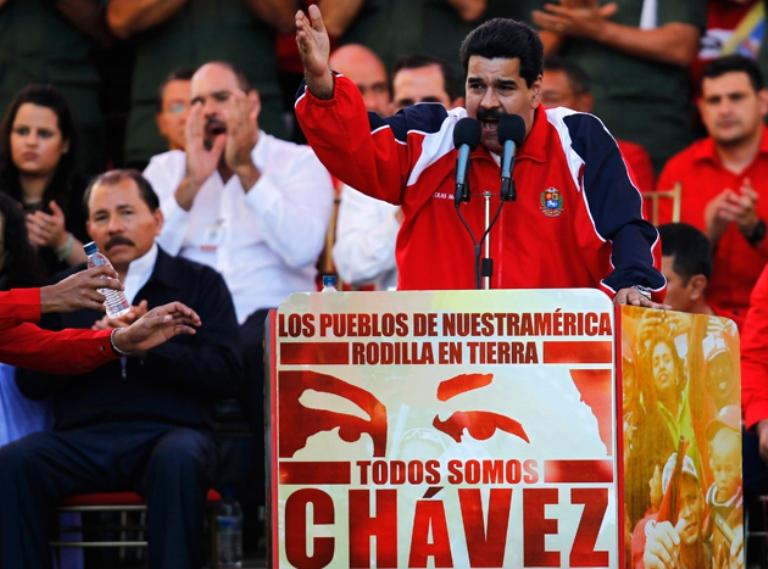Vicepresidente Ejecutivo de Venezuela, Nicolás Maduro, durante el acto de apoyo a Chávez. FOTO: Reuters